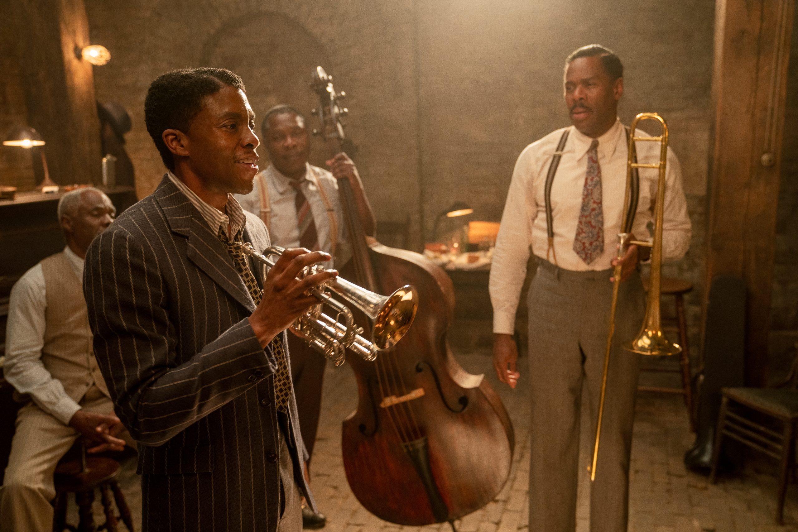 From left to right: Glynn Turman, Chadwick Boseman, Michael Potts, and Colman Domingo in 'Ma Rainey's Black Bottom' on Netflix. (David Lee / Netflix)