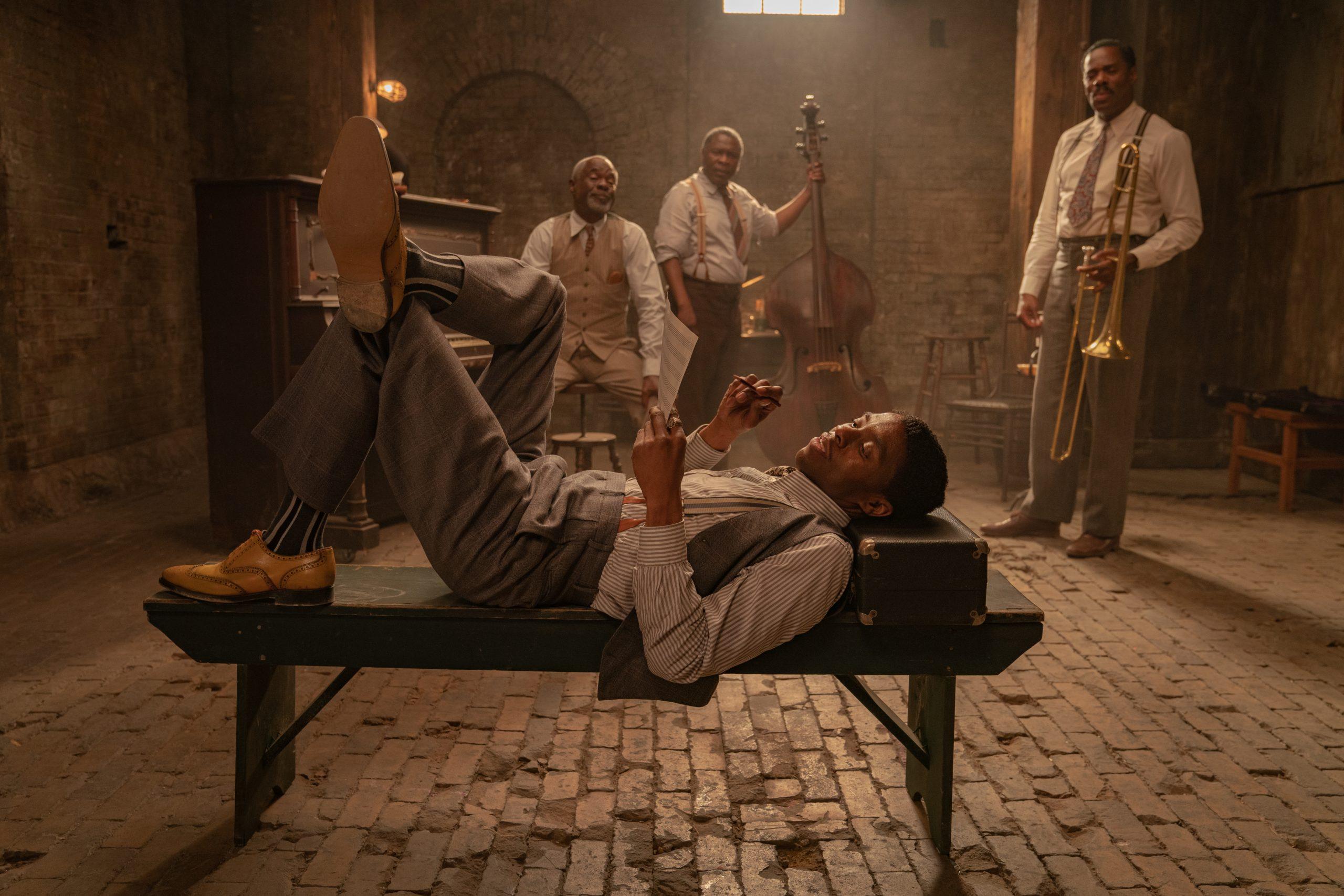 From left to right: Chadwick Boseman, Glynn Turman, Michael Potts, Colman Domingo in 'Ma Rainey's Black Bottom' on Netflix. (David Lee / Netflix)
