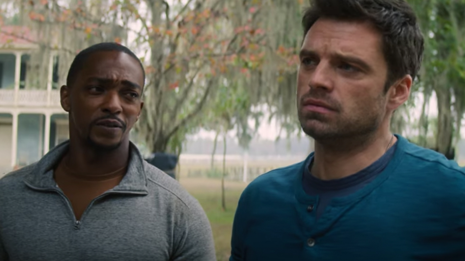 Anthony Mackie (left) and Sebastian Stan in 'The Falcon and The Winter Soldier' on Disney+
