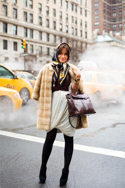 Miroslava Duma fur coat scarf