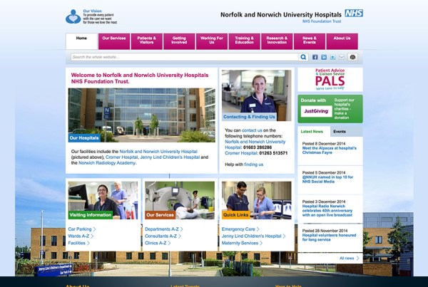 Norfolk and Norwich University Hospital NNUH Website Screenshot