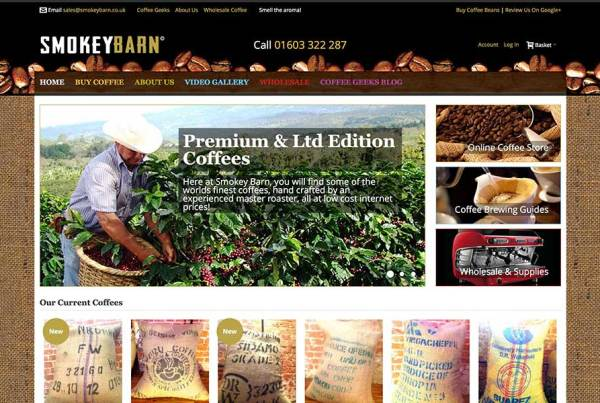 Smokey Barn Coffee Magento Website Banner