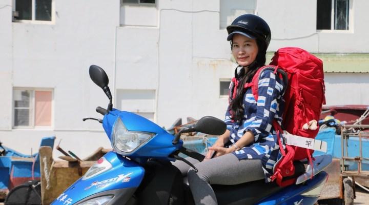Renting scooter on Matsu Island in Taiwan