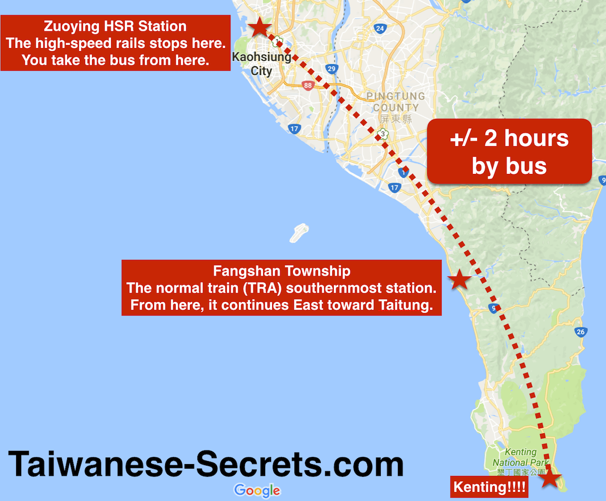 travel from kaohsiung to kenting by bus