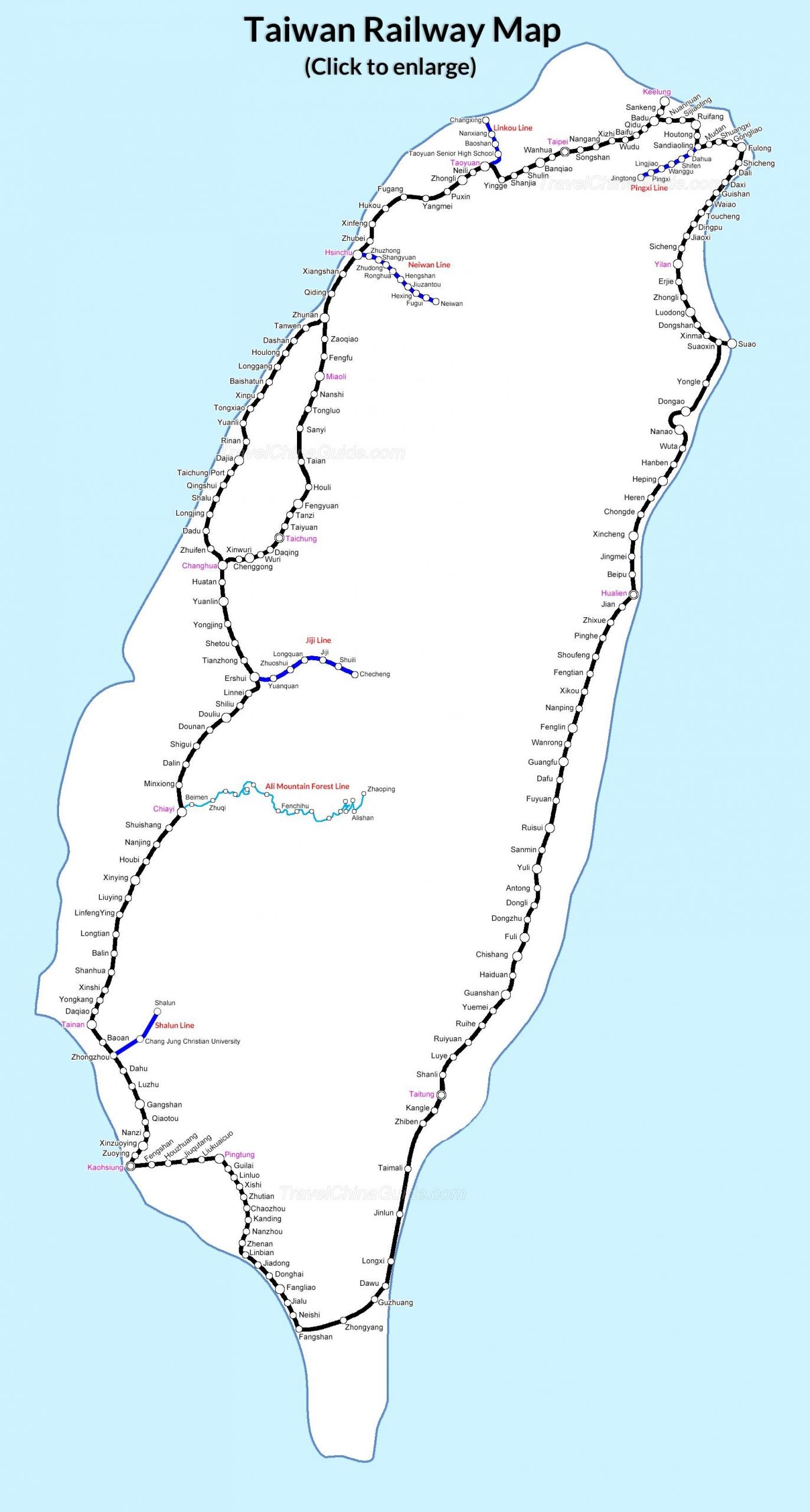 taiwan railway map