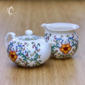 Elegant Teapot with Peony Motif with Pitcher Featured View