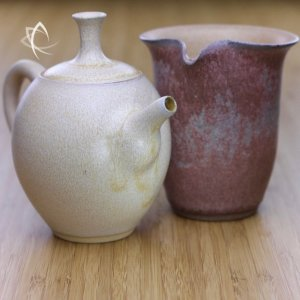 Moondust Ochre Refined Teapot and Sea Mist Rose Calla Tea Pitcher Featured View