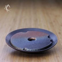 Ash Glazed Small Tea Boat Lifted View