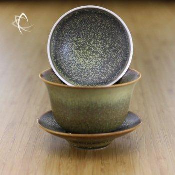 Tea Dust Glaze Gaiwan Darker Shade Open Lid Focus