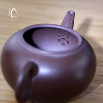 Small Purple Clay Shui Ping Teapot Back Inside Filter View