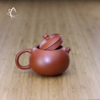 Small Xi Shi Red Clay Teapot Lid Off View