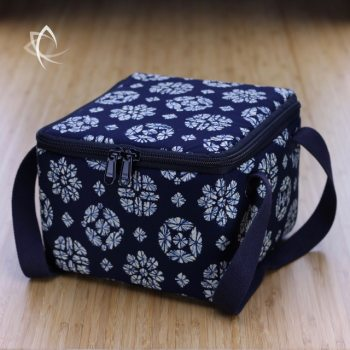 Insulated Square Tea Travel Tote Pack Indigo Tie Dye Pattern