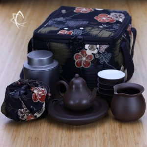 Purple Clay Pear Teapot, Pitcher, Cups and Tin Set with Padded Square Tea Travel Tote Pack