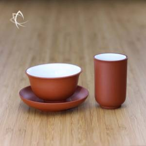 Red Clay Tea Cup with Saucer and Aroma Cup