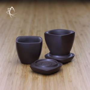Sky Lantern Purple Clay Covered Tea Cup Set-Featured View