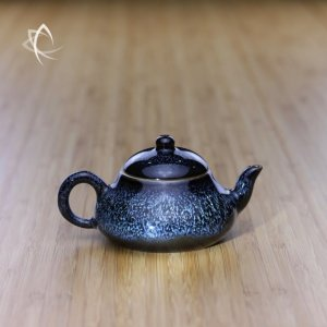 Blue Hare's Fur Stubby Pear Shaped Teapot Featured View