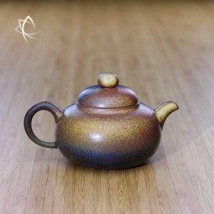 Ash Glazed Gourd Shaped Teapot Featured View