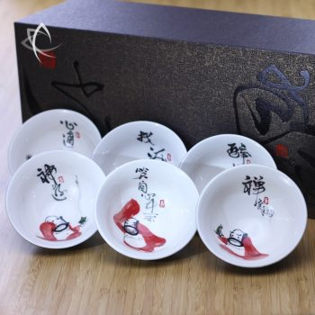 Hand Painted Luohan Tea Cup Set with Gift Box