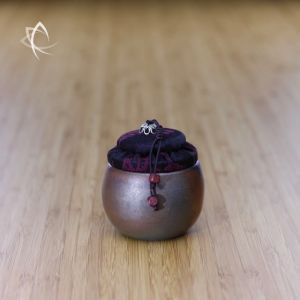 Small Wood Fired Cup-Urn with Violet Lid Featured View