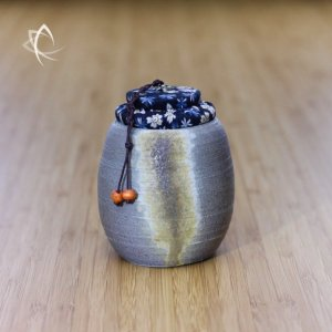 Tall Grey Wood Fired Cup-Urn Featured View