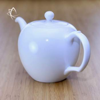Large Mei Ren Jian Satin White Teapot Handle Side Angled View