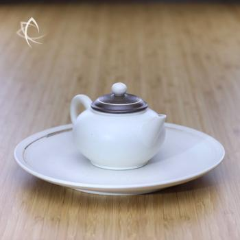 Chocolate Swirl and Ivory Shui Ping Teapot with Ivory Jupi Glazed Large Plate Featured View
