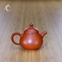 Hand-Thrown Pear-Shaped Red Clay Teapot Side View