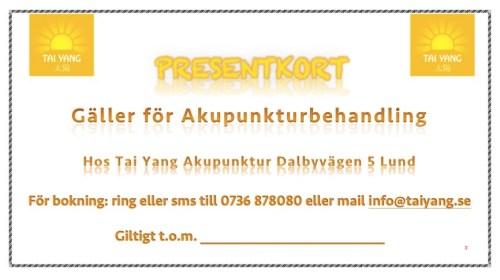 Presentkort Julklapp