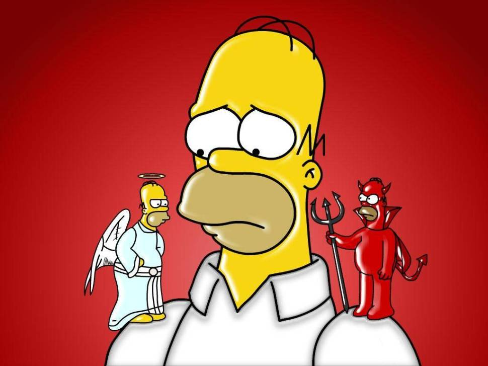 Charizma a ego, sebavedomie. Homer Simspon egoistický Sebavedomie a EGO. Na čo si dajte pozor pri rozvoji charizmy ? 218319 the simpsons homer and his devil and angel