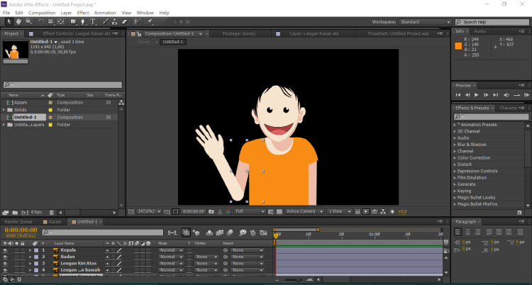 project adobe illustrator yang terimpor ke After Effects