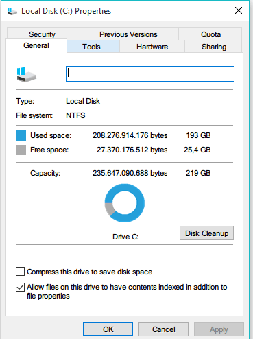 Windows 10 Local Disk Properties