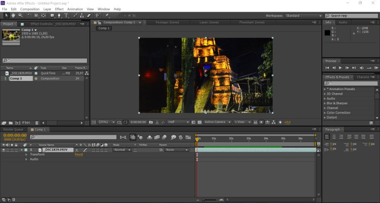 tampilan utama after effect - tutorial slow motion after effect