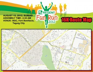 Regent Run 16K Route Map