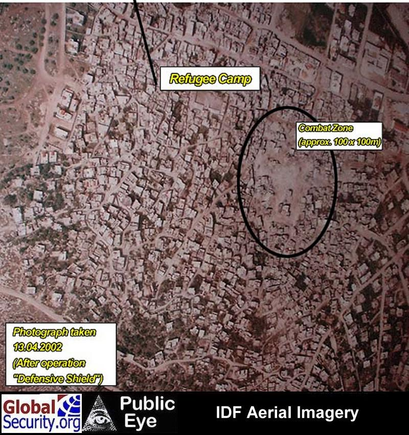 Aerial imagery showing the relative size of the area targeted by the IDF with respect to the entire refugee camp.