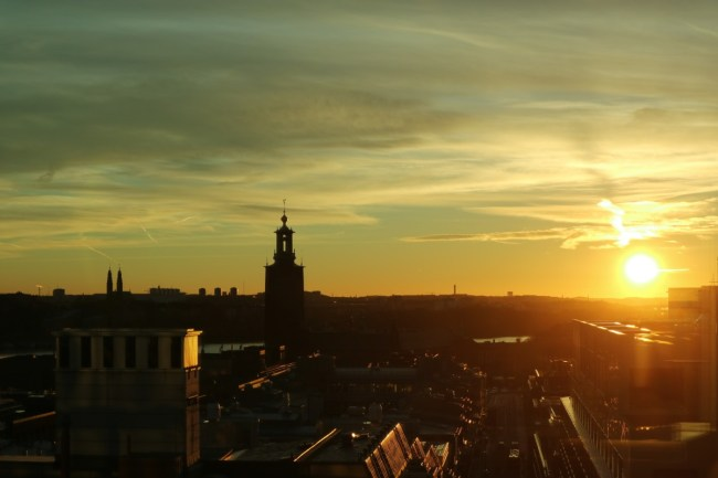 Zonsondergang vanuit Hotel At Six in Stockholm
