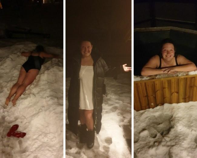 Na de sauna rollen in de sneeuw en nagenieten in de hottub.