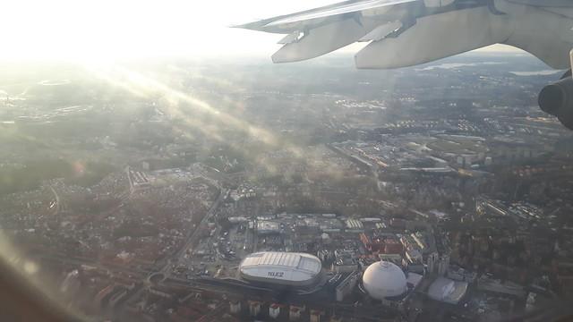 Globen en Tele2 Arena vanuit de lucht