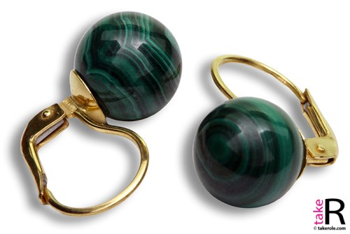 News Jewelry Malachite Earrings 10mm