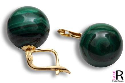 News Jewelry Malachite Earrings 14mm