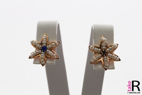 News Jewelry Star Earrings Pearls Sapphire in Gold Plated Silver