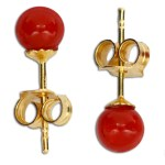 Extra Red Coral Earrings 4-4½mm in Gold 18K