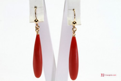 Extra Red Coral Earrings drop 8x40mm in Gold 18K
