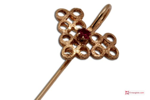 Vintage Brooch Ruby 925 Gold Plated Silver