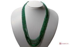Emeralds Necklace faceted washer 5 strands 3-4½mm 240.5kt