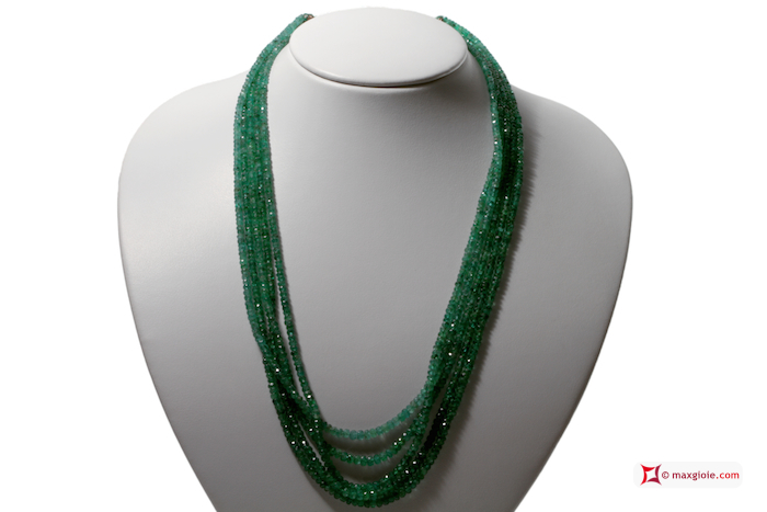 Emeralds Necklace faceted washer 5 strands 3-4½mm 240.5kt