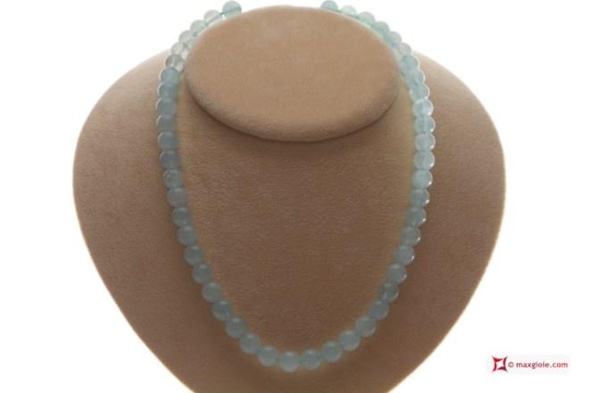 Extra Aquamarine Necklace 9½-10mm round in Gold 18K