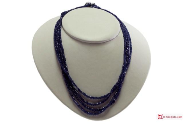 Sapphires Necklace faceted washer 4 strands 2½-4½mm 300kt