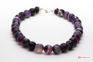 Extra black striped Agate Necklace 16mm faceted in Silver