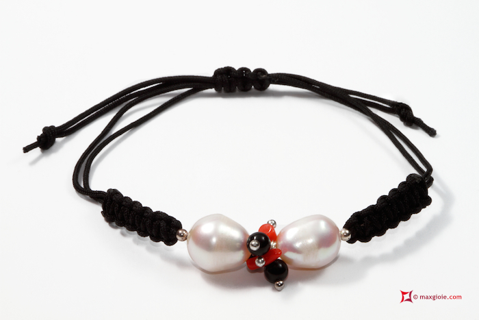 Trendy Bracelet red Coral Pearls black Agate in 925 Silver