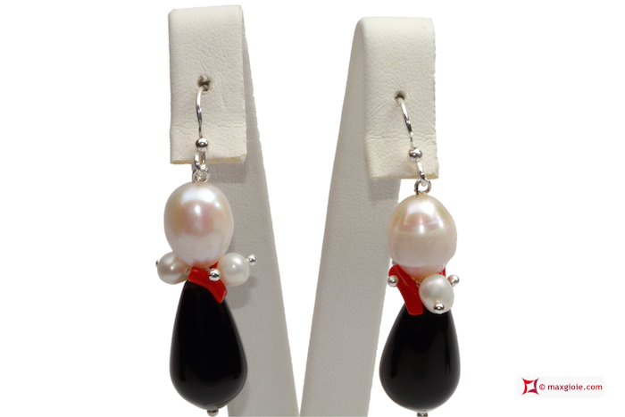 Trendy Earrings red Coral Pearls black Agate in 925 Silver
